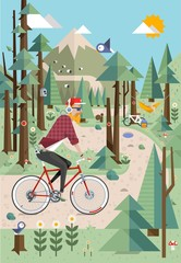 Mountain background vector illustration with hipster on bike