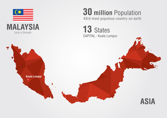 Wall Mural - Malaysia world map with a pixel diamond texture.