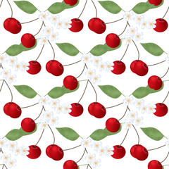 Seamless pattern with cherry anf flowers on white