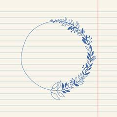vector romantic sketch doodle illustration of wreath