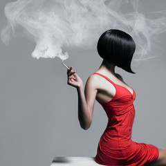 Elegant lady with cigarette