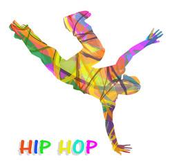 ballerino composto di colori che balla hip hop