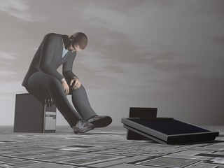 Businessman burn out - 3D render