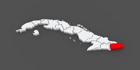Map of Guantanamo. Cuba.