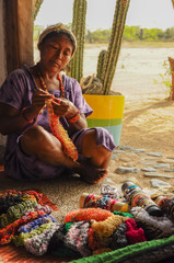 GUAJIRA, COLOMBIA - FEBRUARY 27, 2012: Unidentified traditional