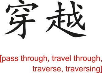 Chinese Sign for pass through,travel through,traverse