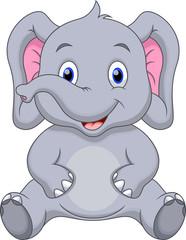 Cute baby elephant cartoon