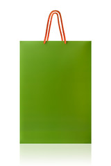 Green shopping bag, isolated with clipping path on white backgro