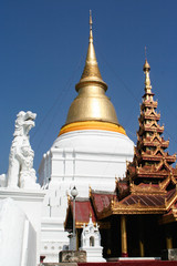 Main entrance of .Wat Phra Kaow Don Tao Su Da Cha Ram in Lampang