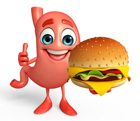 Cartoon Character of stomach with burger