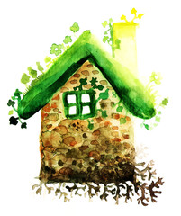 Eco housing hand drawn symbol