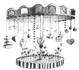 Hand drawn image of merry go round