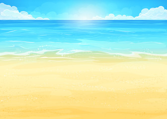 Illustration background with ocean and beach
