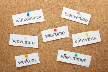 The word Welcome in European languages on a notice board