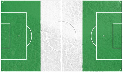 football field textured by nigeria national flag