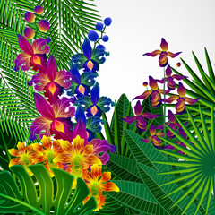 Tropical flowers and leaves. Floral design background.