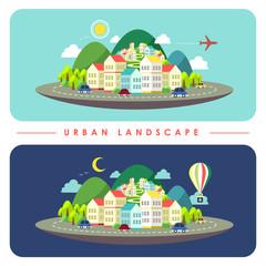 urban landscape illustration in flat design