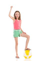 Cheering girl with a beach ball