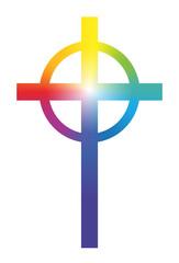 Christian Cross Rainbow Gradient