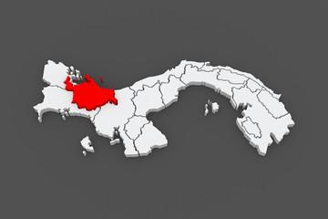 Map of Ngobe Bugle. Panama.
