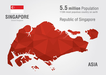 Wall Mural - Singapore world map with a pixel diamond texture.