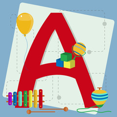 "Letter ""a"" from stylized alphabet with children's toys"