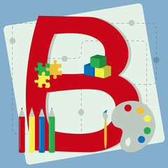 "Letter ""b"" from stylized alphabet with children's toys"