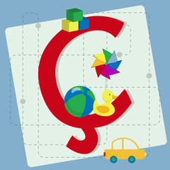 "Letter ""cedilla"" from stylized alphabet with children's toys"