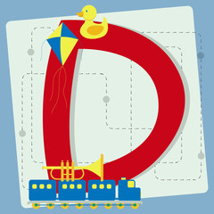 "Letter ""d"" from stylized alphabet with children's toys"