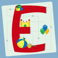 "Letter ""e"" from stylized alphabet with children's toys"