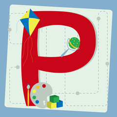 "Letter ""p"" from stylized alphabet with children's toys"