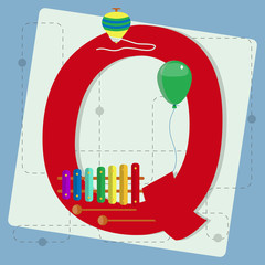"Letter ""q"" from stylized alphabet with children's toys"
