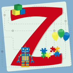 "Letter ""z"" from stylized alphabet with children's toys"