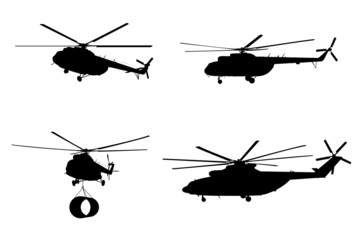 Helicopter of set silhouette.