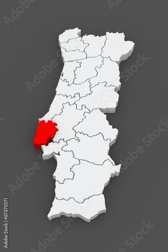 Map of Lisbon. Portugal.\