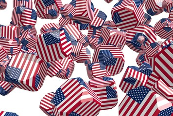 boxes textured by usa national flag