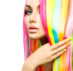 Tuinposter Beauty Beauty Girl Portrait with Colorful Makeup, Hair and Nail polish