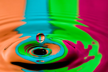 Abstract background colorful water droplet making splash