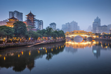Spoed Fotobehang China Chengdu, China On the Jin River