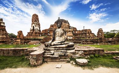 Buddha image at Wat Mahathat (Temple),Ayutthaya,Thailand.Unesco