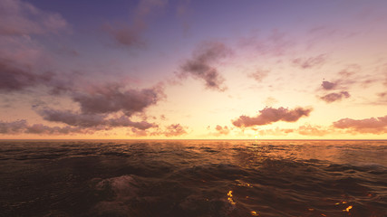 3d render of sea sunset