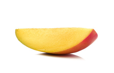 slice of mango on white background