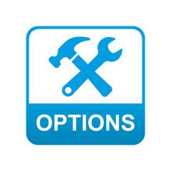 Etiqueta tipo app azul OPTIONS