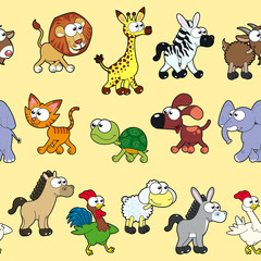 Group of animals with background.