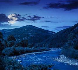 mountain river on a clear summer night