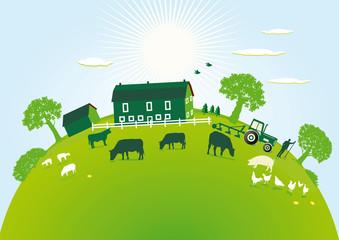 grüner Bauernhof