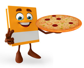 Book Character with pizza