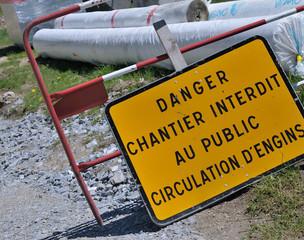 signalisation de travaux pour le public,chantier
