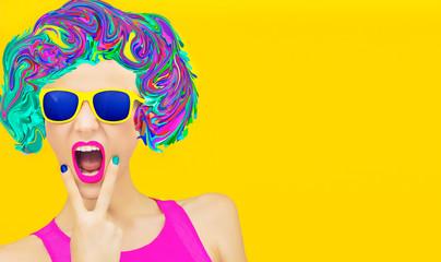 Aggressive party girl. Multicolors blast