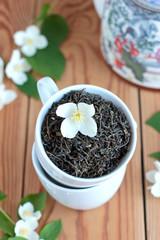 Green tea leaves  with jasmine